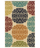 RugStudio presents Sphinx By Oriental Weavers Lagos 1442y Ivory/Multi Machine Woven, Good Quality Area Rug