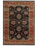 RugStudio presents Tommy Bahama Vintage 634n2 Onyx Black/Red Machine Woven, Good Quality Area Rug