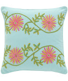 RugStudio presents Pine Cone Hill Pillow Edelweiss Crewel Aqua