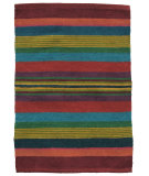 RugStudio presents Ragtime Fiesta 64502 Multi Stripe Rag Area Rug