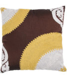 RugStudio presents Rizzy Pillows T03236 Brown / Yellow