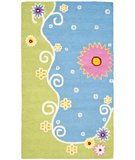 RugStudio presents Safavieh Kids SFK383A Blue / Green Hand-Hooked Area Rug