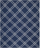 RugStudio presents Safavieh Dhurries DHU638D Navy / Ivory Flat-Woven Area Rug