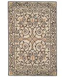 RugStudio presents Rugstudio Sample Sale 46350R Ivory / Dark Brown Hand-Hooked Area Rug