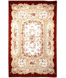 RugStudio presents Rugstudio Sample Sale 46470R Ivory / Burgundy Hand-Hooked Area Rug