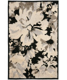 RugStudio presents Safavieh Kashmir Kas118a Black / Ivory Machine Woven, Better Quality Area Rug