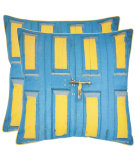 RugStudio presents Safavieh Pillows Nador Aqua / Yellow