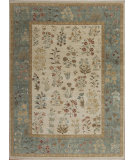 RugStudio presents Samad Cote D'Azur Jardin Ivory/Seafoam Hand-Knotted, Best Quality Area Rug