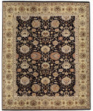 RugStudio presents Samad Cote D'Azur Monaco Black/Light Gold Hand-Knotted, Best Quality Area Rug
