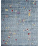 RugStudio presents Samad Plateau Moon Cave Denim Blue Hand-Knotted, Good Quality Area Rug