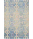 RugStudio presents Shalom Brothers Broadway B-6 Ivory-Blue Silk Hand-Knotted, Best Quality Area Rug