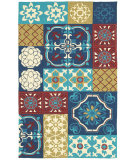 RugStudio presents Shaw World Market Garden Craft Tile Of Paradise Blue 12420 Machine Woven, Good Quality Area Rug