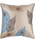 RugStudio presents Surya Pillows HH-097 Beige/Sky Blue