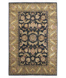 RugStudio presents Surya Taj Mahal Tj-309 Black / Gold Hand-Knotted, Best Quality Area Rug
