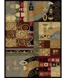 RugStudio presents Tayse Festival Collection 8773 Black Machine Woven, Good Quality Area Rug