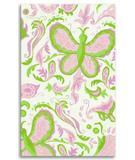RugStudio presents The Rug Market America Kids Butterfly Paisley 11573 White/pink/green Hand-Hooked Area Rug