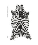 RugStudio presents The Rug Market America Resort Zebra Black Shaped 25257 Black/white Hand-Hooked Area Rug