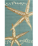 RugStudio presents The Rug Market America Resort Starfish Aqua/Tan Hand-Hooked Area Rug