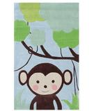 RugStudio presents The Rug Market America Kids Jungle Mania 74015 Blue/brown/green Hand-Hooked Area Rug