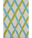 RugStudio presents The Rug Market America Pop Accents Bamboo Green/White/Blue Hand-Hooked Area Rug