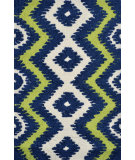 RugStudio presents The Rug Market America Pop Accents Ziggy Navy/Green/White Hand-Hooked Area Rug