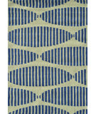 RugStudio presents The Rug Market America Pop Accents Navy Stamps Navy/Green Hand-Hooked Area Rug