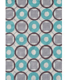 RugStudio presents The Rug Market America Pop Accents Rounders Aqua/Gray/White Hand-Hooked Area Rug