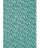 RugStudio presents The Rug Market America Pop Accents Yang Teal/White Hand-Hooked Area Rug