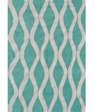 RugStudio presents The Rug Market America Pop Accents Squiggle Turquoise/White Hand-Hooked Area Rug