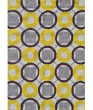 RugStudio presents The Rug Market America Pop Accents Rounders Yellow/White/Taupe Hand-Hooked Area Rug