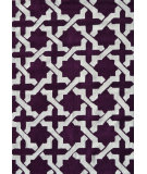 RugStudio presents The Rug Market America Pop Accents Etchy Aubergine/White Hand-Hooked Area Rug