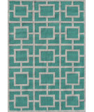 RugStudio presents The Rug Market America Pop Accents Larson Teal/White Hand-Hooked Area Rug