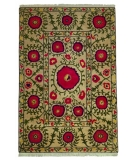 RugStudio presents Tibet Rug Company 60 Knot Premium Tibetan Poppies Beige Hand-Knotted, Best Quality Area Rug
