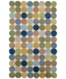 RugStudio presents Trans-Ocean Amalfi Circles Blue 1958/04 Hand-Tufted, Better Quality Area Rug