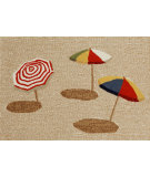 RugStudio presents Trans-Ocean Frontporch Beach Umbrella Natural 1409/12 Hand-Tufted, Better Quality Area Rug