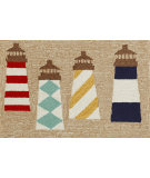 RugStudio presents Trans-Ocean Frontporch Lighthouses Natural 1401/12 Hand-Tufted, Good Quality Area Rug