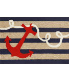 RugStudio presents Trans-Ocean Frontporch Anchor Navy 1400/33 Hand-Tufted, Good Quality Area Rug