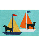 RugStudio presents Trans-Ocean Frontporch Sailing Dogs Aqua 1402/03 Hand-Tufted, Good Quality Area Rug