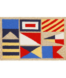 RugStudio presents Trans-Ocean Frontporch Signal Flags Neutral 1403/12 Hand-Tufted, Good Quality Area Rug
