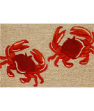 RugStudio presents Trans-Ocean Frontporch Crabs Neutral 1404/12 Hand-Tufted, Good Quality Area Rug