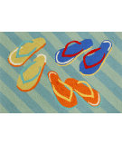 RugStudio presents Trans-Ocean Frontporch Flip Flops Aqua 1405/03 Hand-Tufted, Good Quality Area Rug