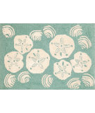 RugStudio presents Trans-Ocean Frontporch Shell Toss Aqua 1408/04 Hand-Tufted, Better Quality Area Rug