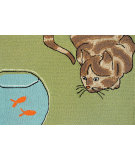 RugStudio presents Trans-Ocean Frontporch Curious Cat Green 1430/06 Hand-Tufted, Good Quality Area Rug