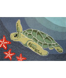 RugStudio presents Trans-Ocean Frontporch Sea Turtle Ocean 1431/04 Hand-Tufted, Good Quality Area Rug