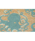 RugStudio presents Trans-Ocean Frontporch Octopus Aqua 1432/04 Hand-Tufted, Good Quality Area Rug