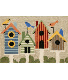 RugStudio presents Trans-Ocean Frontporch Birdhouses Neutral 1441/44 Hand-Tufted, Good Quality Area Rug