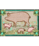 RugStudio presents Trans-Ocean Frontporch Piggies Pink 1442/16 Hand-Tufted, Good Quality Area Rug