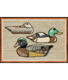 RugStudio presents Trans-Ocean Frontporch Duck Decoys Neutral 1445/12 Hand-Tufted, Better Quality Area Rug
