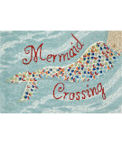 RugStudio presents Trans-Ocean Frontporch Mermaid Crossing Aqua 1448/03 Hand-Tufted, Good Quality Area Rug