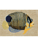RugStudio presents Trans-Ocean Frontporch Angel Fish Ivory 1451/12 Hand-Tufted, Good Quality Area Rug